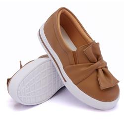 Slip On Siena Laço Caramelo DKShoes - Rilu Fashion