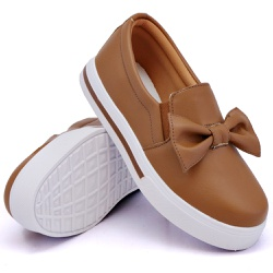 Slip On Siena Laço Deitado Caramelo DKShoes - Rilu Fashion