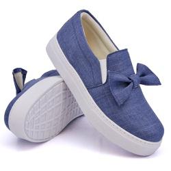 Slip On Siena Laço Deitado Jeans Claro DKShoes - Rilu Fashion
