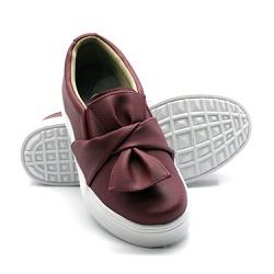 Slip On Laço Marsala DKShoes - Rilu Fashion