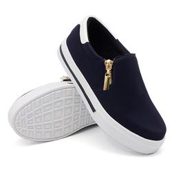 Slip On Zíper Azul Marinho Verniz Branco DKShoes - Rilu Fashion