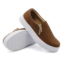Slip On Calce Fácil Zíper Caramelo DKShoes - Rilu Fashion