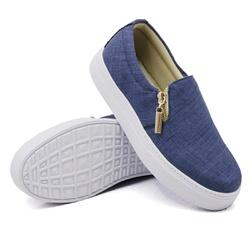 Slip On Calce Fácil Zíper Jeans Claro DKShoes - Rilu Fashion
