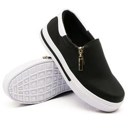 Slip On Zíper Preto Verniz Branco DKShoes - Rilu Fashion