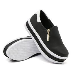 Slip On Zíper Sola Alta Preto Verniz Branco DKShoe... - Rilu Fashion