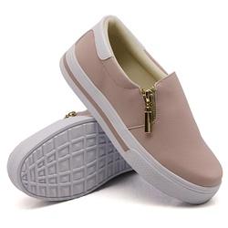 Slip On Zíper Rosê Verniz Branco DKShoes - Rilu Fashion