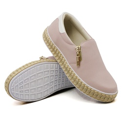 Slip On Zíper Rosê Verniz Branco Corda DKShoes - Rilu Fashion