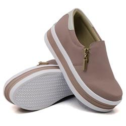 Slip On Zíper Sola Alta Rosê Verniz Branco DKShoes... - Rilu Fashion