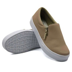 Slip On Calce Fácil Zíper Rosê DKShoes - Rilu Fashion