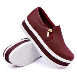 Slip On Zíper Sola Alta Marsala DKShoes - Rilu Fashion