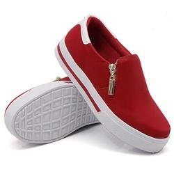 Slip On Zíper Vermelho Verniz Branco DKShoes - Rilu Fashion