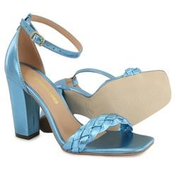Sandália Salto Grosso Trança Azul Metalizado Vitór... - Rilu Fashion