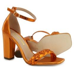 Sandália Salto Grosso Trança Laranja Metalizado Vi... - Rilu Fashion