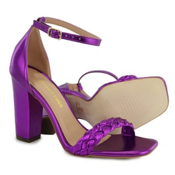 Sandália Salto Grosso Trança Roxo Metalizado Vitór... - Rilu Fashion