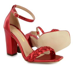 Sandália Salto Grosso Trança Vermelho Metalizado V... - Rilu Fashion