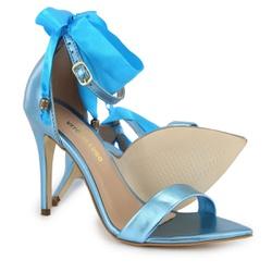 Sandália Gisele Bico Folha Cetim Azul Metalizado V... - Rilu Fashion
