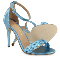 Sandália Gisele Trança Azul Metalizado Vitória Lug... - Rilu Fashion