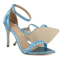 Sandália Gisele Trança Bico Folha Azul Metalizado ... - Rilu Fashion