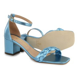 Sandália Salto Bloco Trança Azul Metalizado Vitóri... - Rilu Fashion