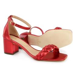 Sandália Salto Bloco Trança Vermelho Metalizado Vi... - Rilu Fashion