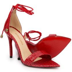 Sandália Gisele Cobra Vermelho Bico Folha Corda Vi... - Rilu Fashion