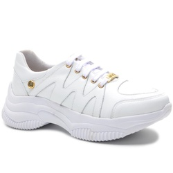 Tênis Feminino Branco em couro legítimo - 1301 - ROTA SHOES