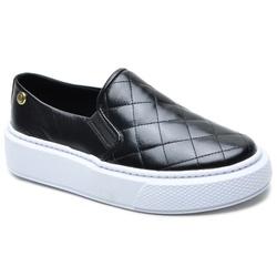 Sapato Slip On em Couro Preto Matelasse - 5010 - ROTA SHOES