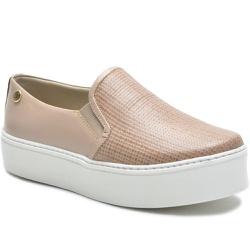 Sapato Slip On em Couro Nude Trama - 9010-TRNUDE - ROTA SHOES