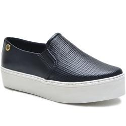 Sapato Slip On em Couro Preto Trama - 9010-TR - ROTA SHOES