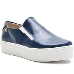 Sapato Slip On em Couro Azul com zíper Lateral - 9... - ROTA SHOES