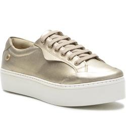 Sapato Slip On em Couro Cadarço Casual Dourado - 9... - ROTA SHOES