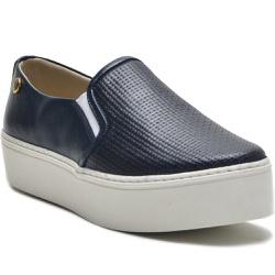 Sapato Slip On em Couro Azul Trama Ana Flex - 901... - ROTA SHOES