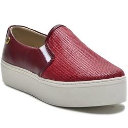 Sapato Slip On em Couro Vermelho Trama Ana Flex ... - ROTA SHOES