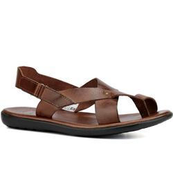 Sandália masculina couro legítimo café - R4 - ROTA SHOES