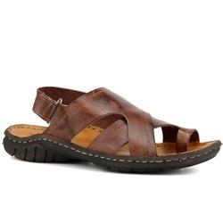 Sandália masculina Couro Legítimo Pinhão - R50 - ROTA SHOES