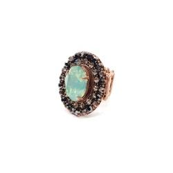 Maxi anel com pedra verde e strass 13333