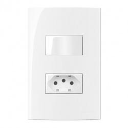 Conjunto 1 Tomada 10A 2P+T + Interruptor Simples Linha Sleek... - Santec
