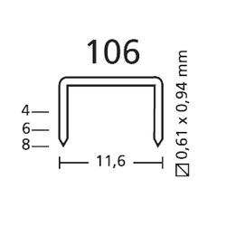 Grampo 106/8mm Pra Grampeador Pneumático - Caixa Com 2500 Gr... - Santec