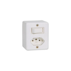 Interruptor De Sobrepor 1 Tecla Simples + Tomada 10A 63200 - Santec
