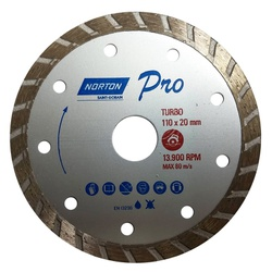 Disco de Corte Diamantado Turbo Pro 110 x 20mm Norton - Santec