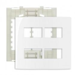 Placa 4 X 4 Com 4 Postos Separados Branco Linha Sleek Margir... - Santec