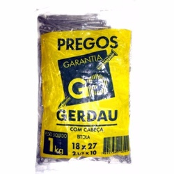 Prego 18 X 27 Com Cabeça - Pacote 1Kg Gerdau - Santec