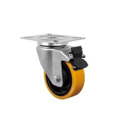 Rodízio Amarelo Giratório Com Freio Gl 312 Pn Schioppa - Santec