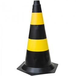Cone de Sinalização 75cm Preto e Amarelo - Santec