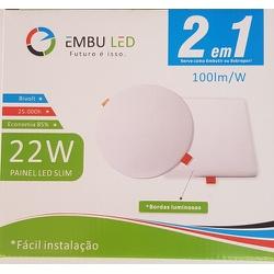Painel de Led Slim 2 em 1 Quadrado 22W 6500K Embuled - Santec