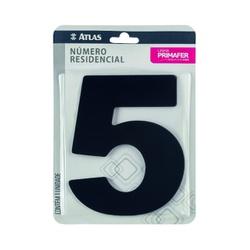 Número Residencial Preto com Adesivo - Nº5 Primafer - Santec