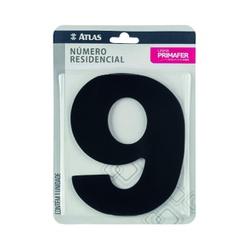 Número Residencial Preto com Adesivo - Nº9 Primafer - Santec