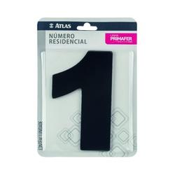 Número Residencial Preto com Adesivo - Nº1 Primafer - Santec