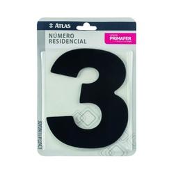 Número Residencial Preto com Adesivo - Nº3 Primafer - Santec