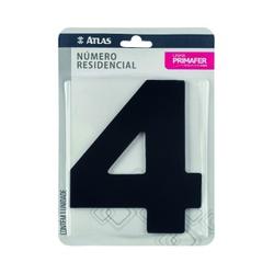Número Residencial Preto com Adesivo - Nº4 Primafer - Santec